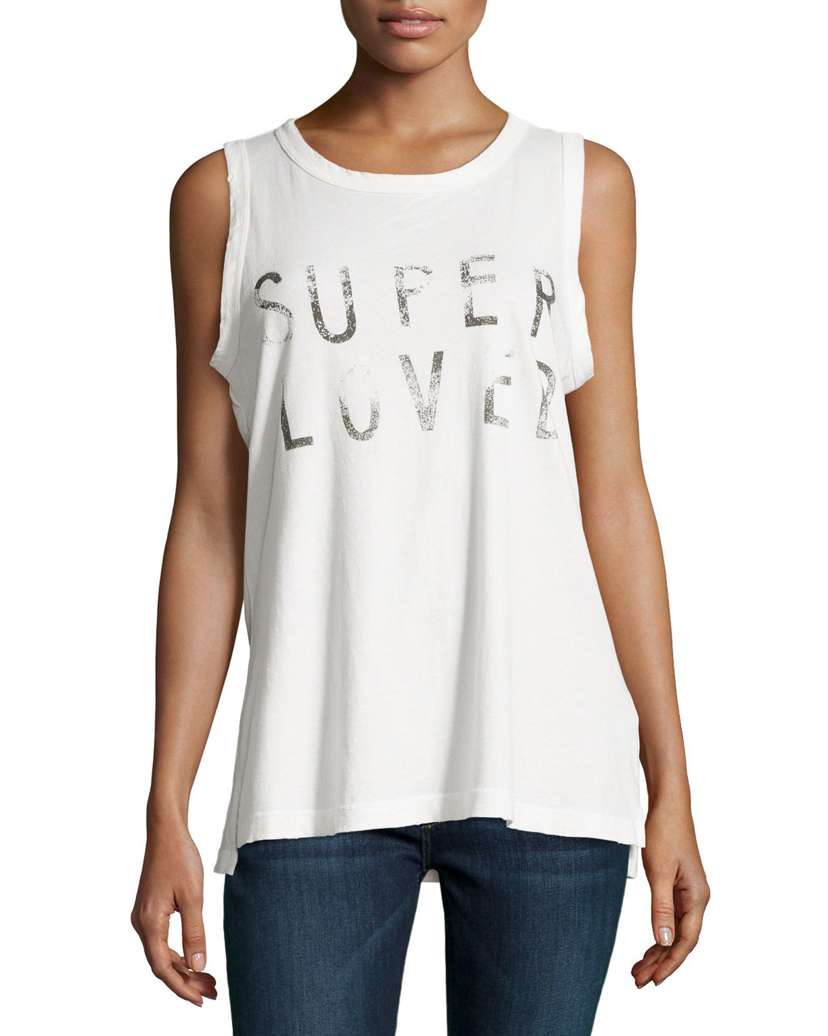 4cac6f9e Current/Elliott The Muscle Tee Super Loved Tank in White - Lyst