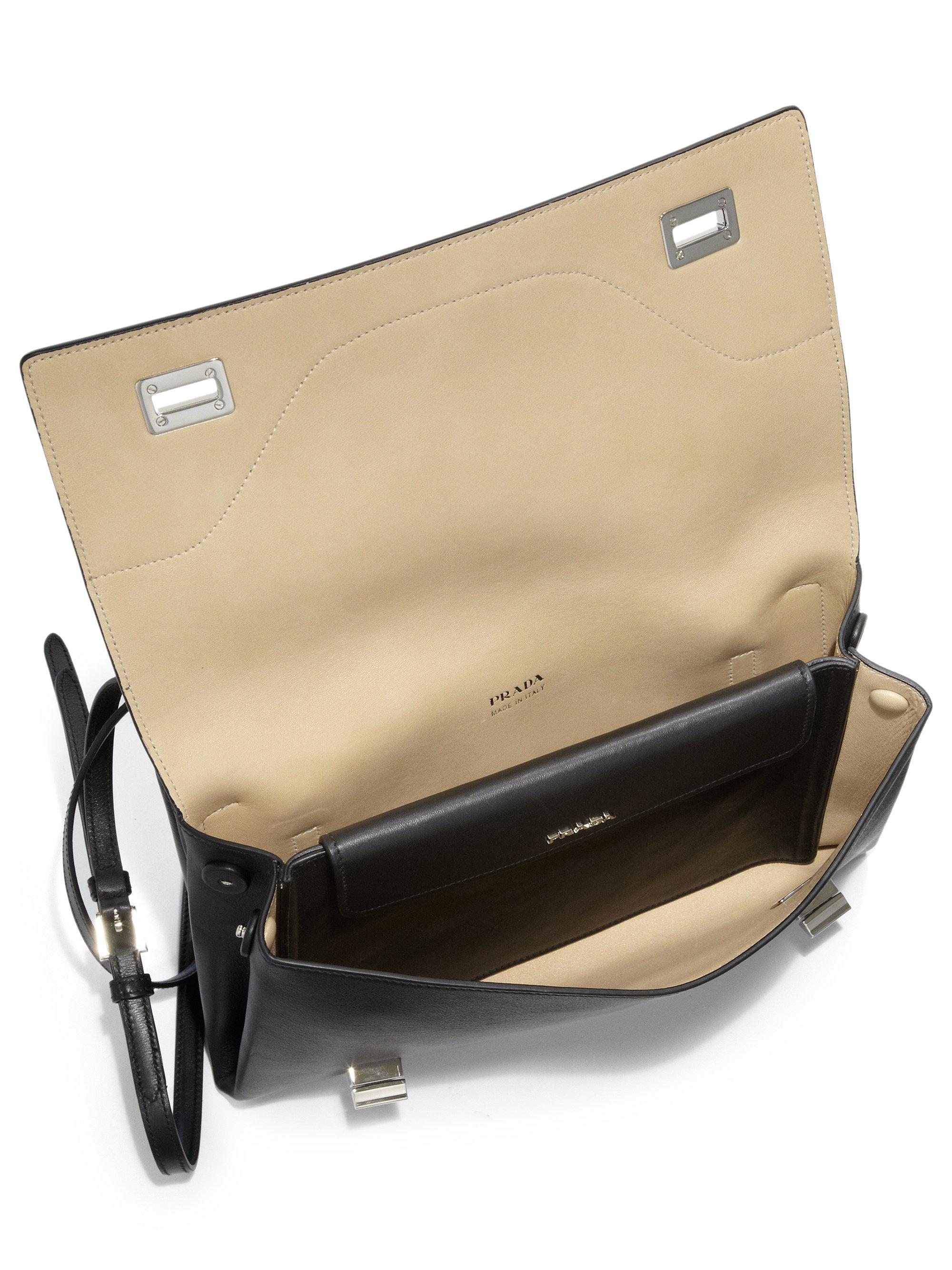 prada messenger bag sale - Prada Vitello Soft Double Shoulder Bag in Black (BLACK-CREAM) | Lyst