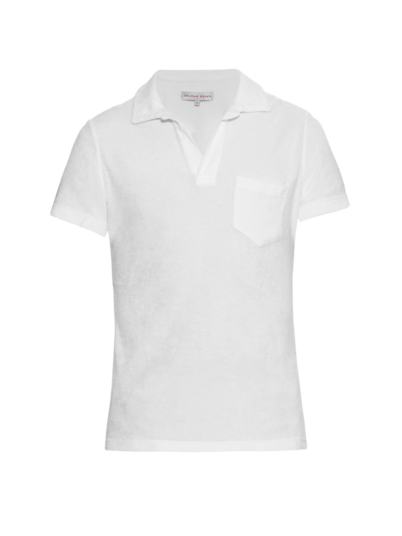Orlebar brown terry cotton polo shirt in white for men lyst for Mens terry cloth polo shirt