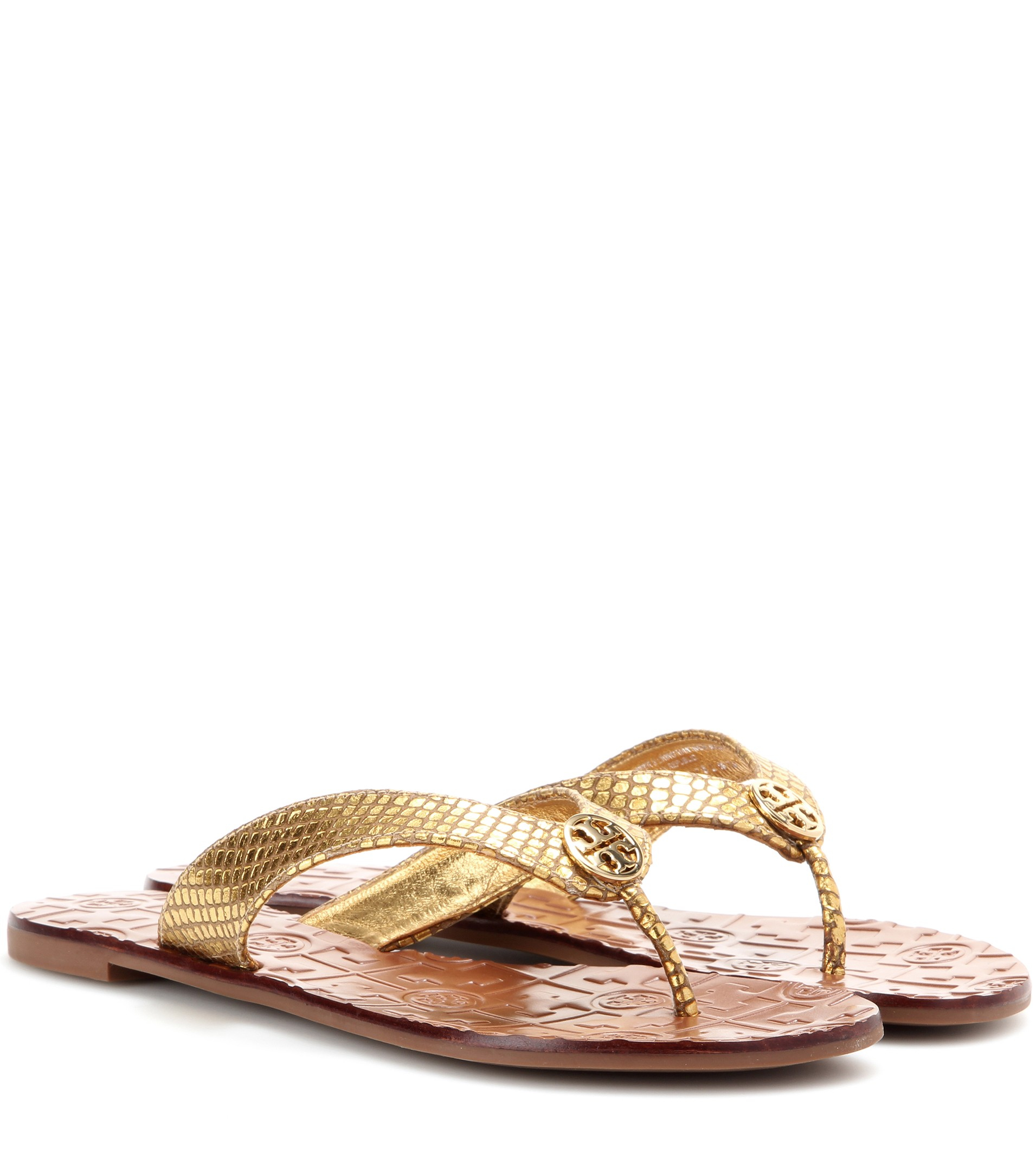13fb80f8216 ... norway lyst tory burch thora metallic leather sandals in metallic 34706  a8f40