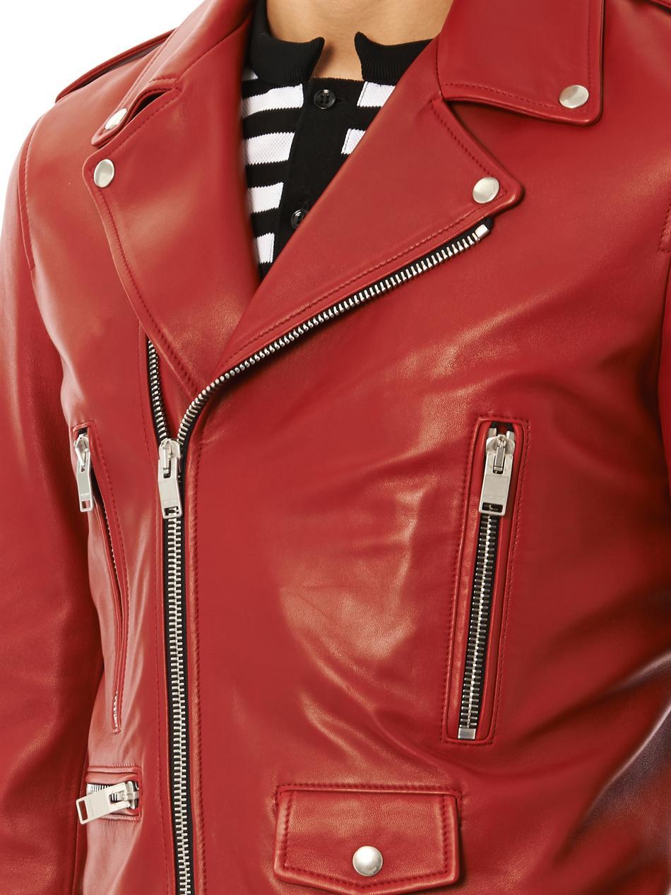 Red leather biker jacket for mens