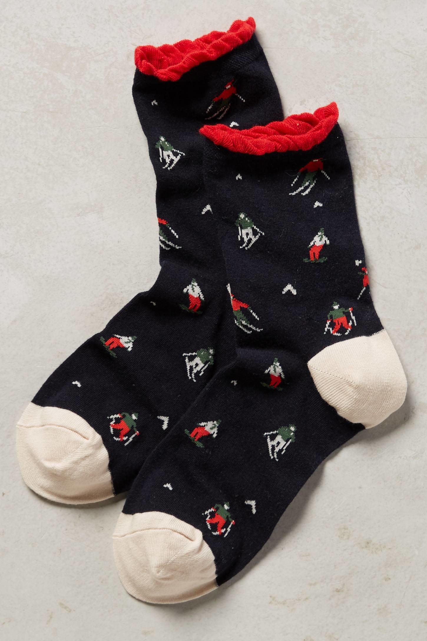 Lyst - Hansel From Basel Ruffled Slopes Socks in Blue Ruffled Socks