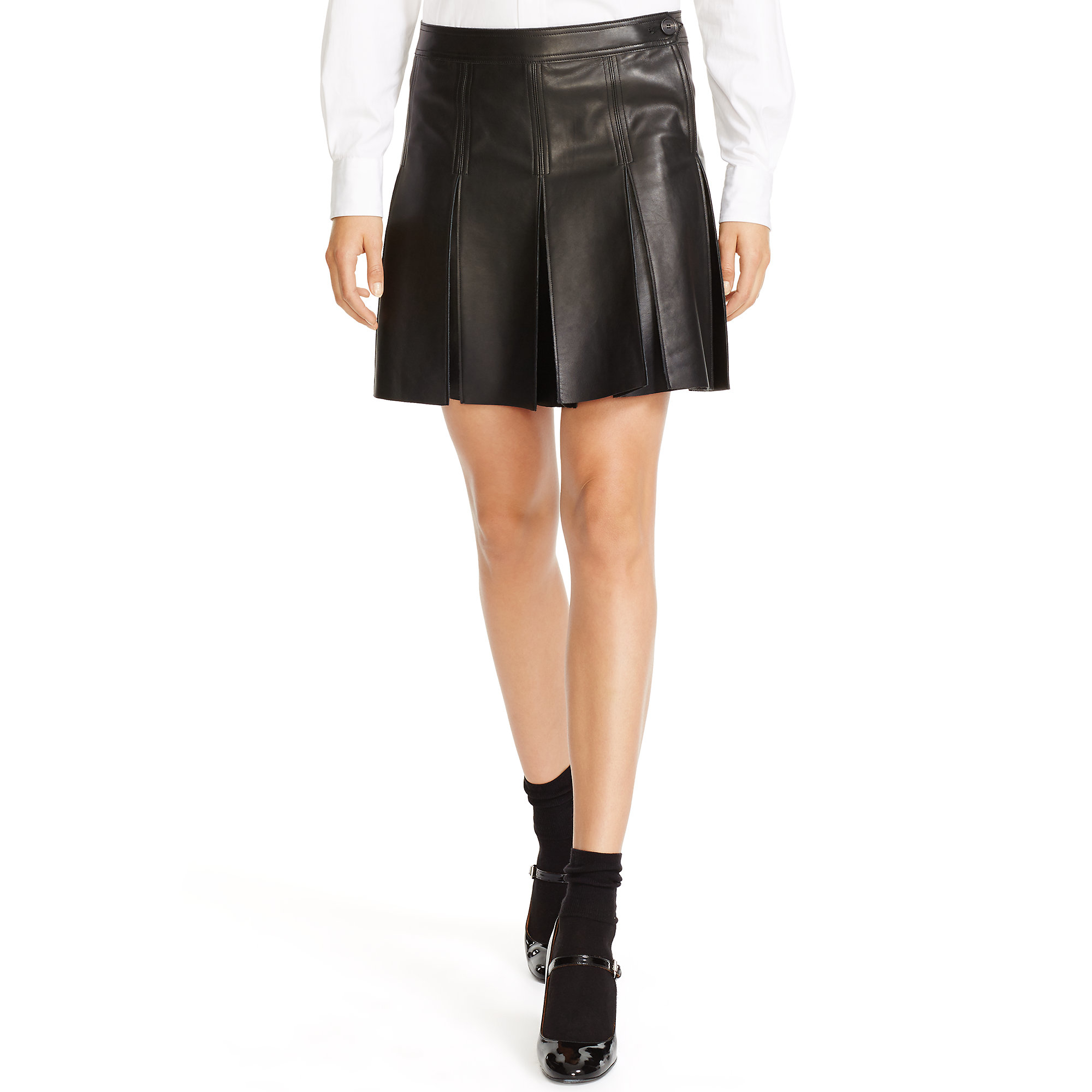 6a3c987a3d ... sale lyst polo ralph lauren pleated leather skirt in black 4d991 0e212