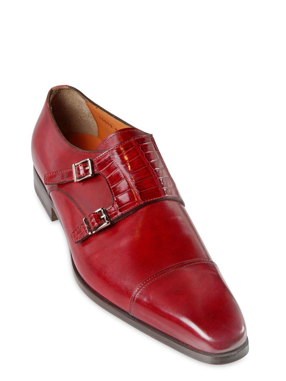 0ad4c88de97b Lyst - Santoni Crocodile   Leather Monk Strap Shoes in Red for Men