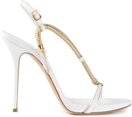 Casadei Strappy Chain Sandals in Gold (white) - Lyst