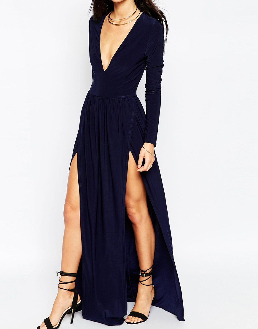 75a69d2661 Lyst - Club L Deep Plunge Maxi Dress With Double Thigh Splits in Blue