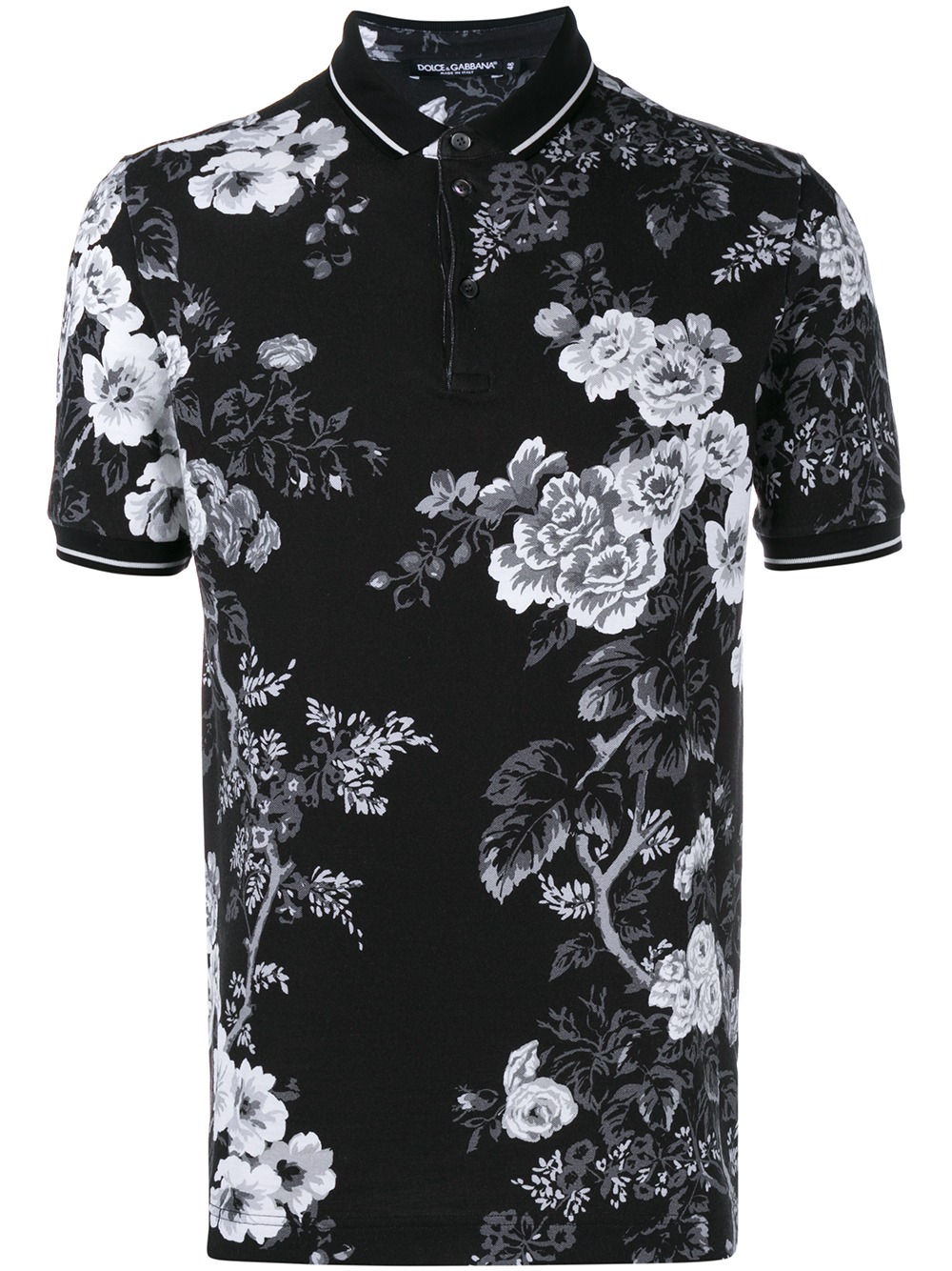 dolce gabbana floral print polo shirt in black for men