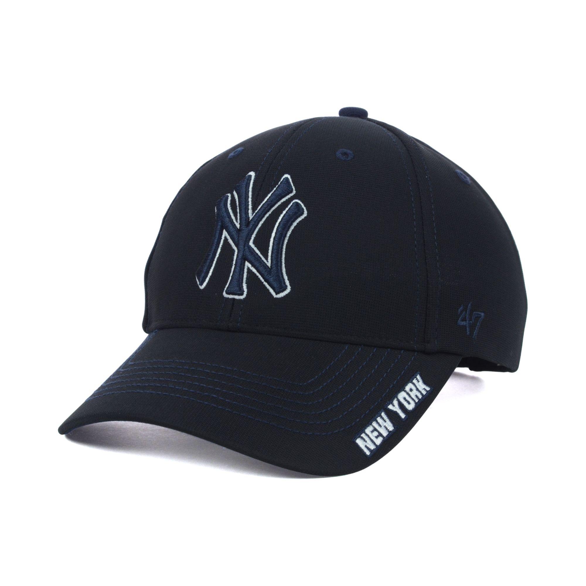 47 brand kids new york yankees adjustable cap in black for. Black Bedroom Furniture Sets. Home Design Ideas