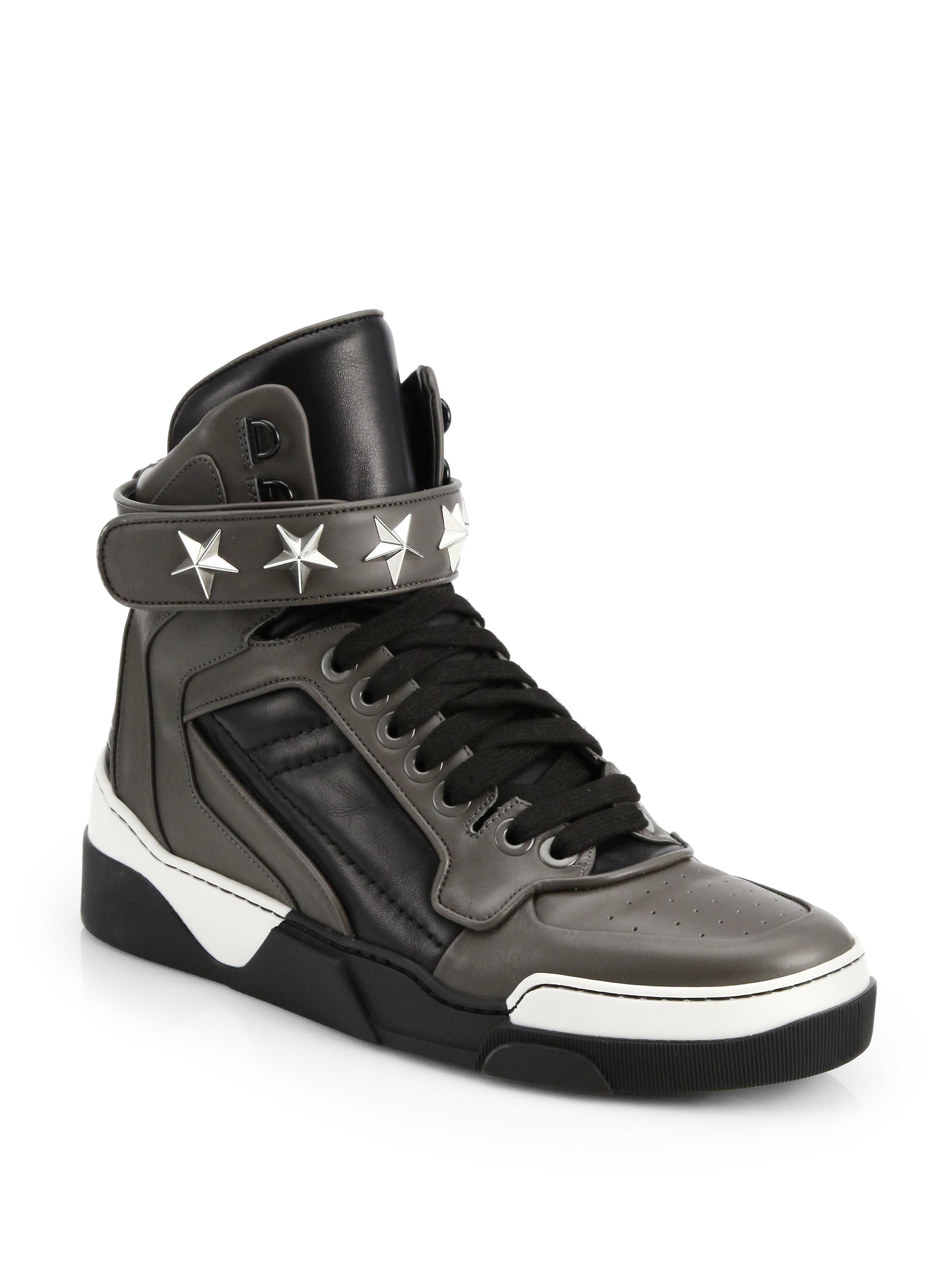 Lyst - Givenchy Tyson Leather High-top Sneakers in Gray for Men 6959f6e15
