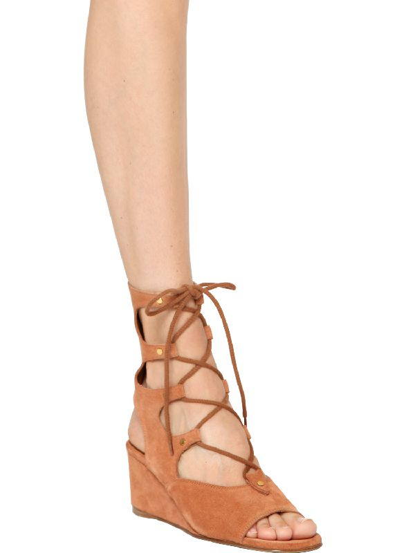 d481580817c Chloé Suede Wedge Sandals in Brown - Lyst
