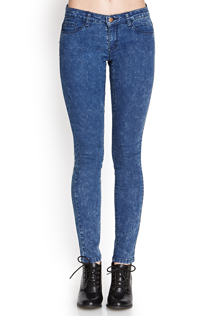 forever 21 acid wash skinny jeans in blue medium denim