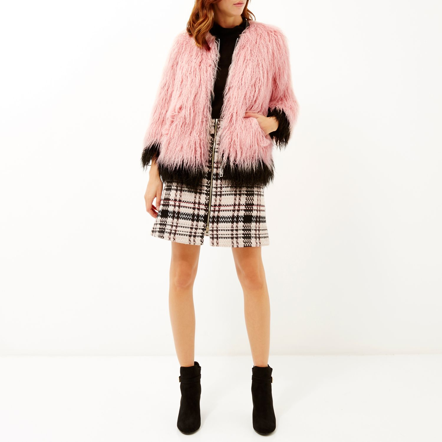 1c19cac6ece2 River Island Light Pink Premium Faux Fur Coat in Pink - Lyst