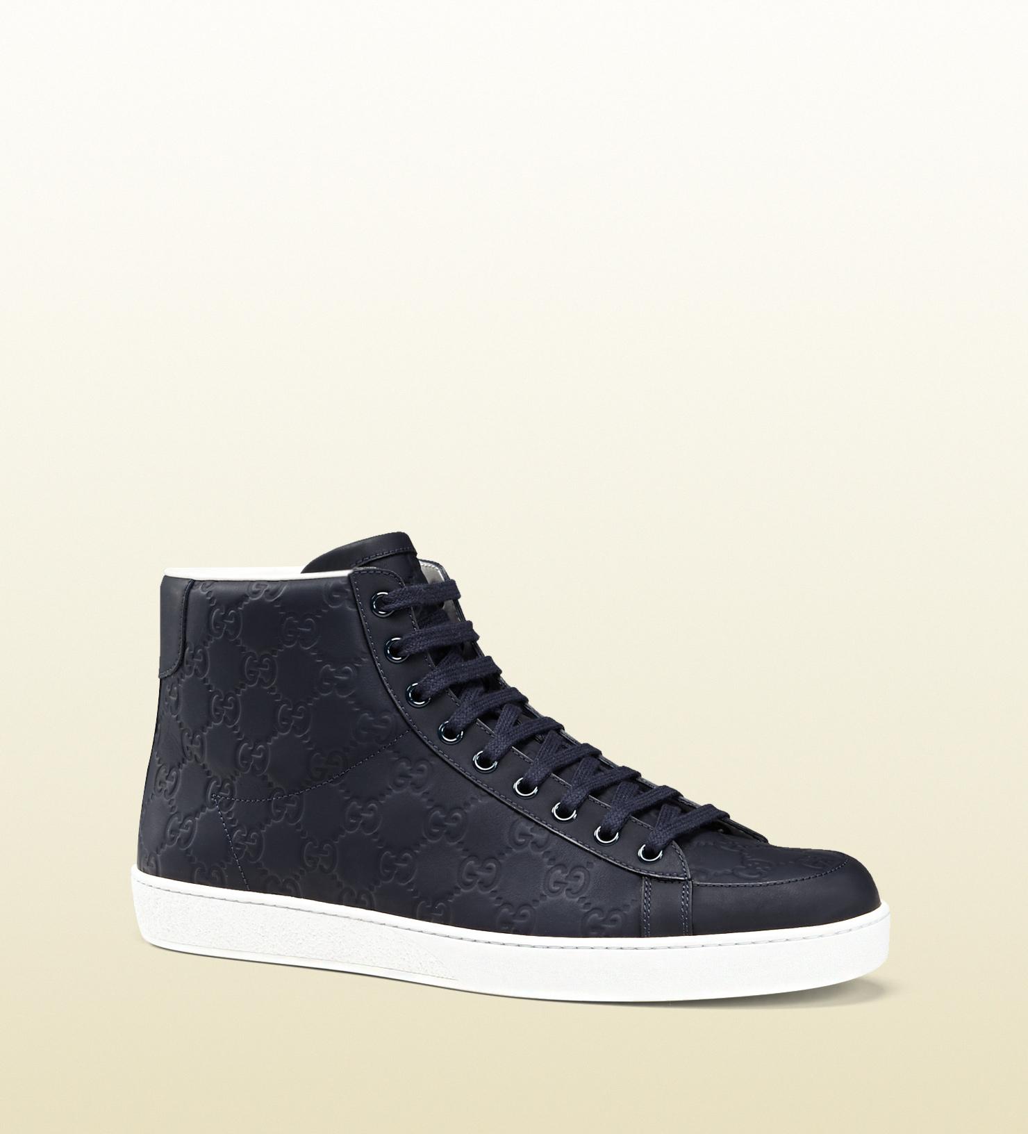gucci rubberized leather hightop sneaker in blue for men