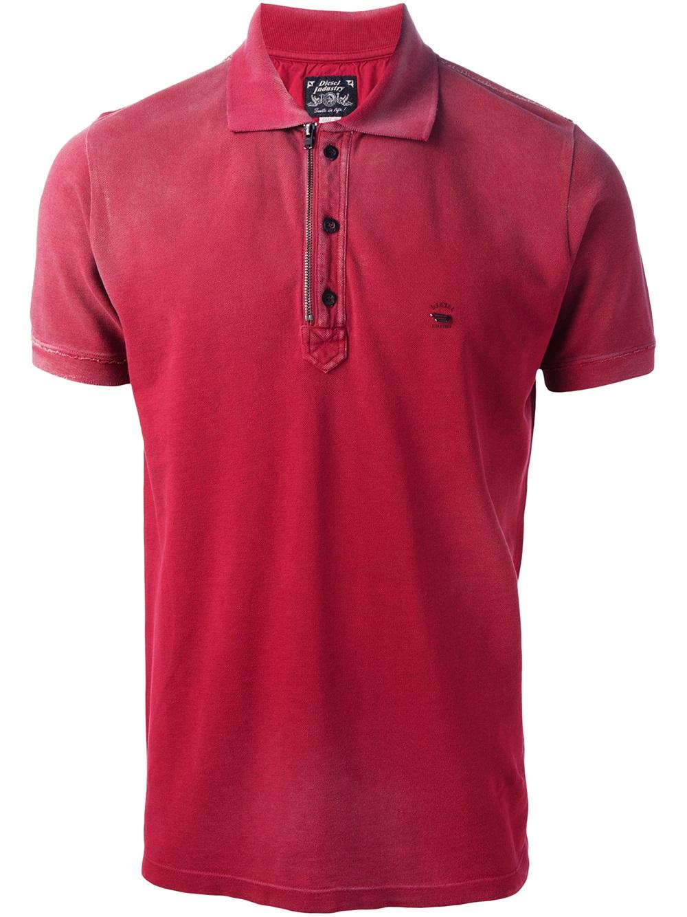 diesel tkalanit polo shirt in red for men lyst. Black Bedroom Furniture Sets. Home Design Ideas