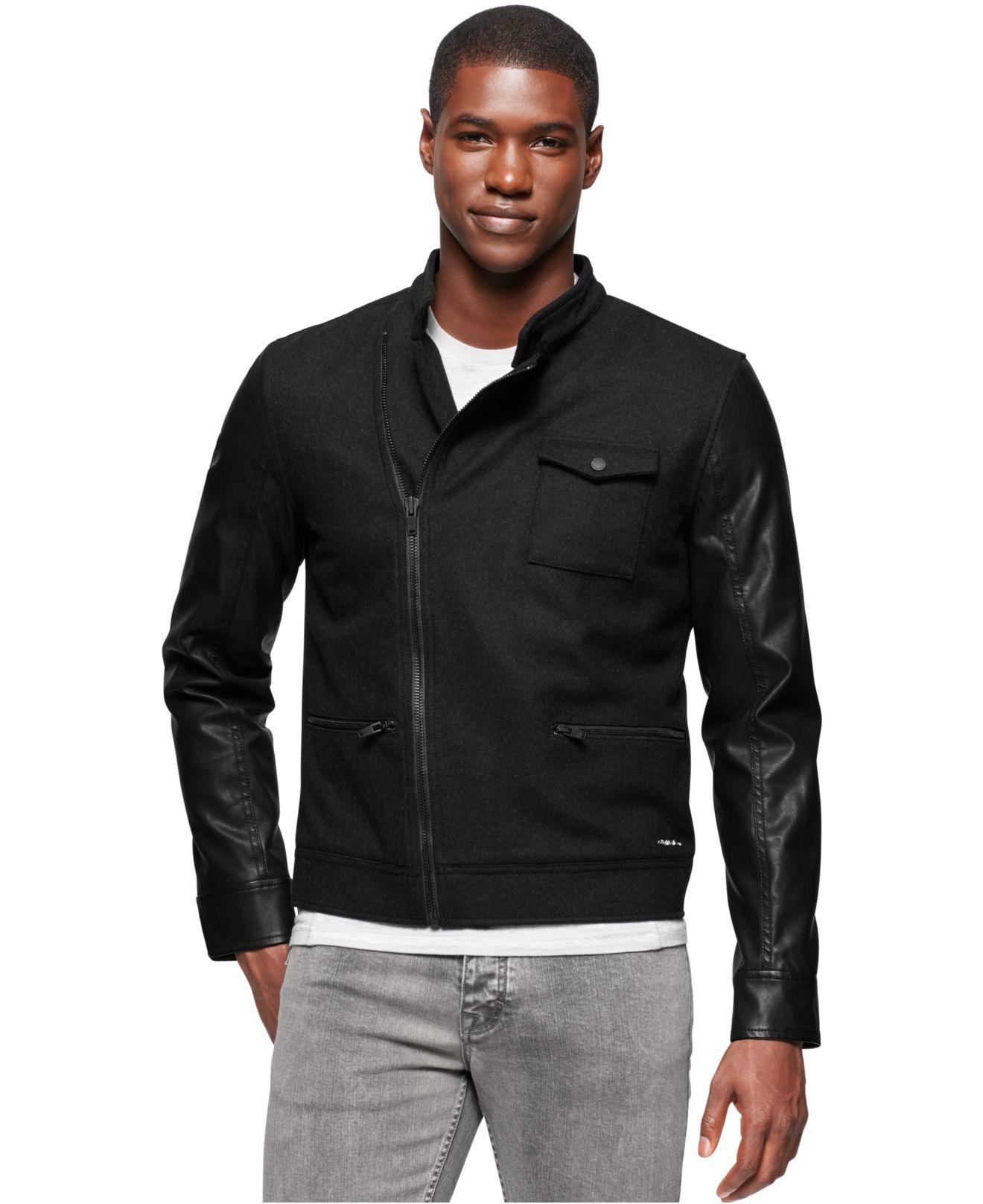 Lyst - Calvin Klein Jeans Short Military Biker Jacket in Black for Men