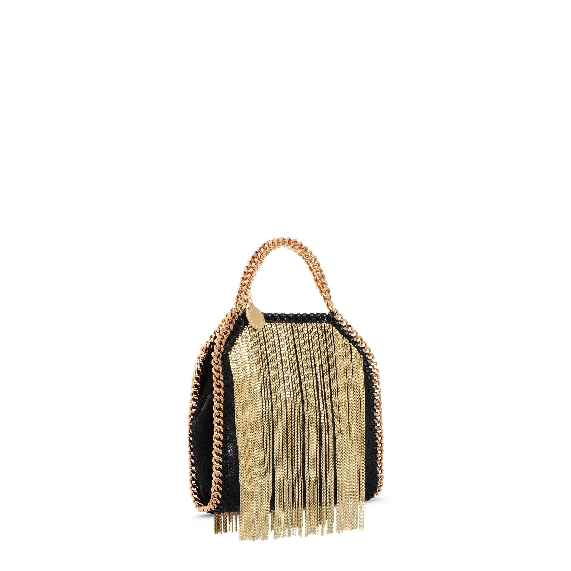 Lyst - Stella McCartney Falabella Chain Fringed Tiny Tote in Metallic 610069251a