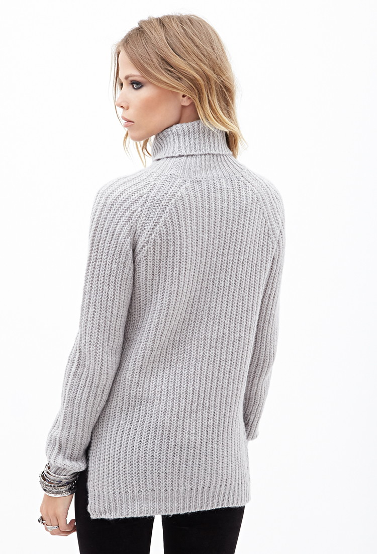 1f50412052f6 Lyst - Forever 21 Ribbed Turtleneck Sweater in Gray
