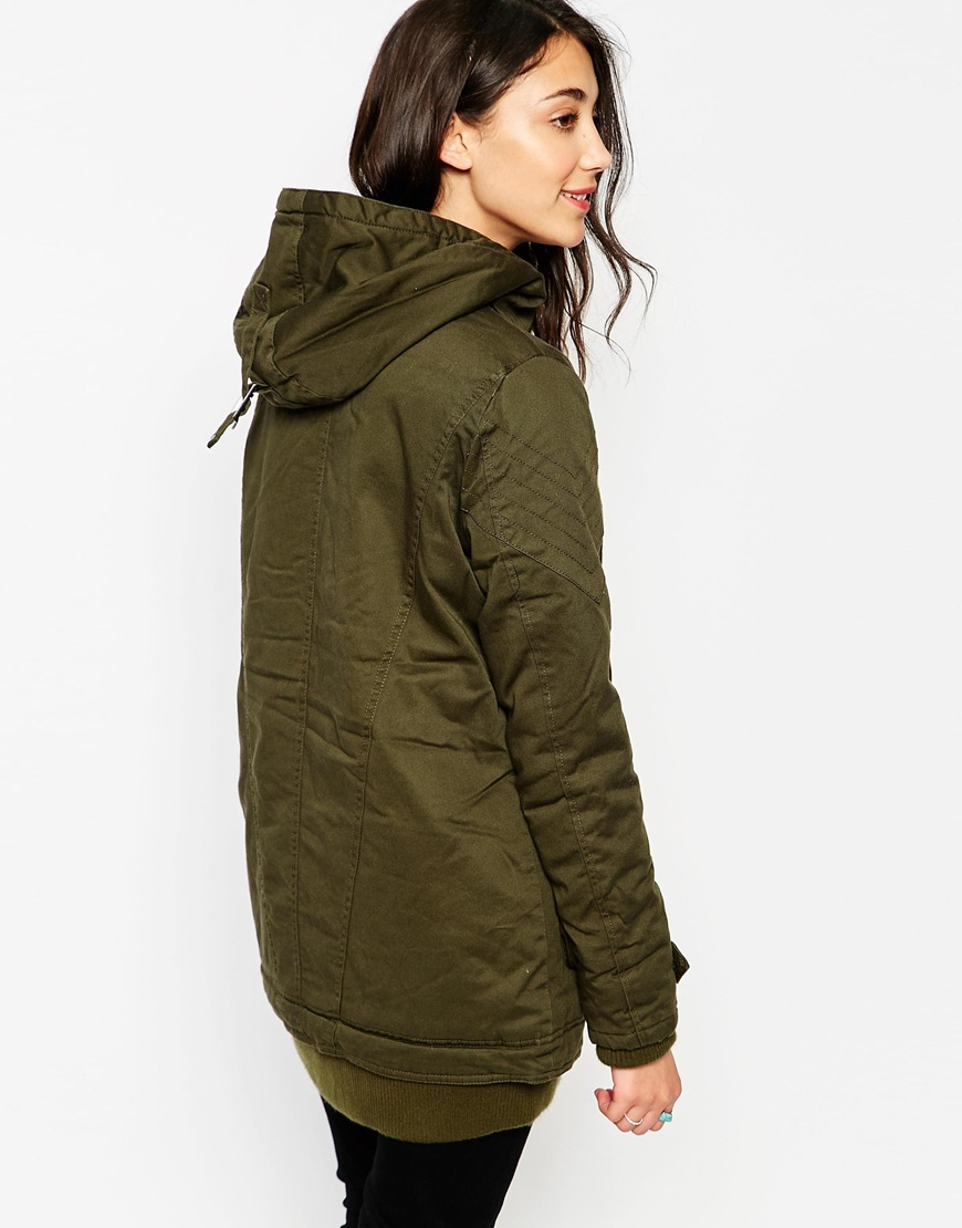 Lyst - Vero Moda Straight Parka With Deep Front Pockets in Green efa24cb443b4