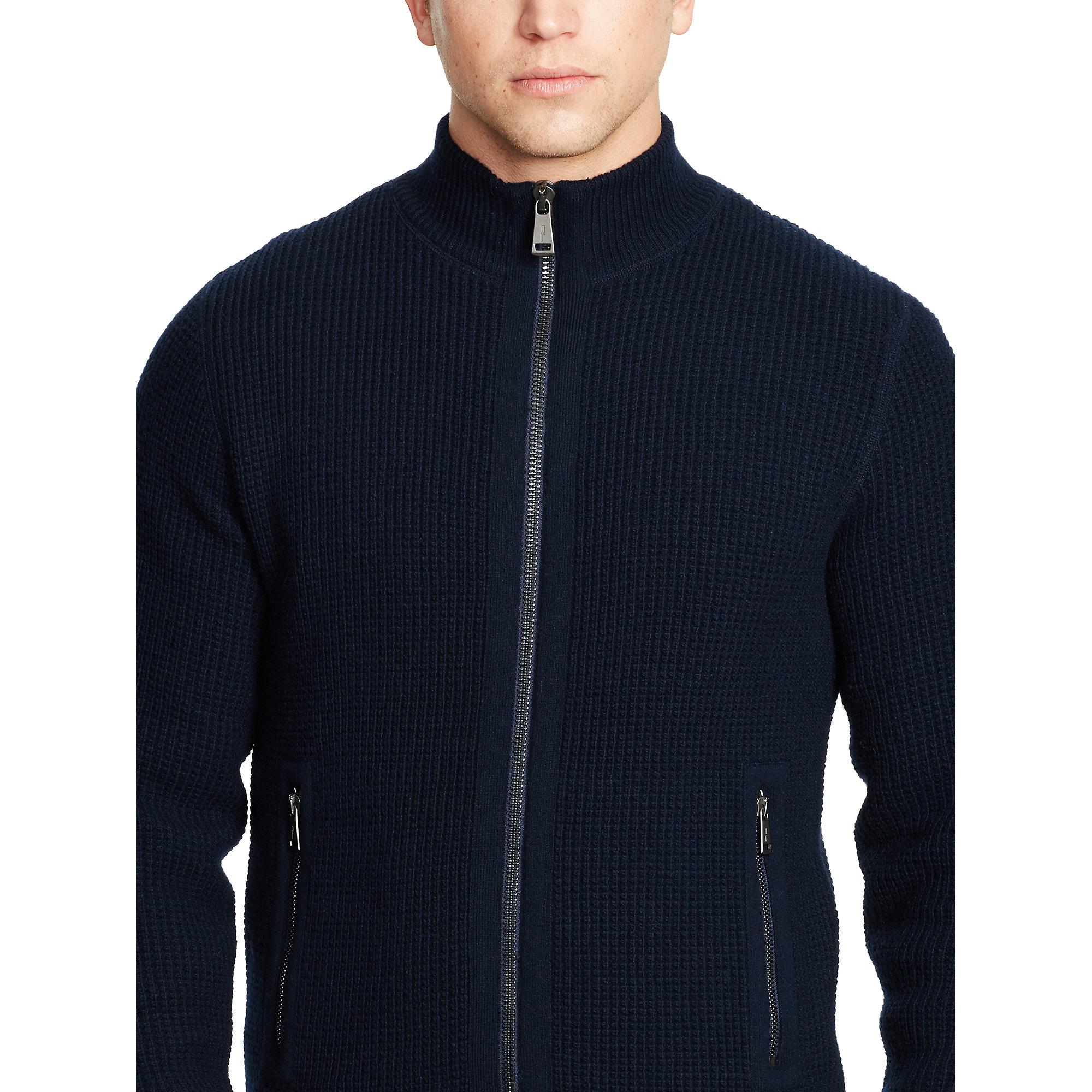Polo ralph lauren Wool-blend Full-zip Sweater in Blue for Men | Lyst