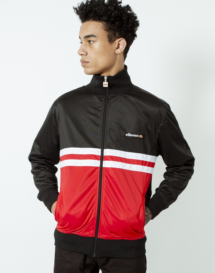 ellesse track jacket with stripes in black for men lyst. Black Bedroom Furniture Sets. Home Design Ideas