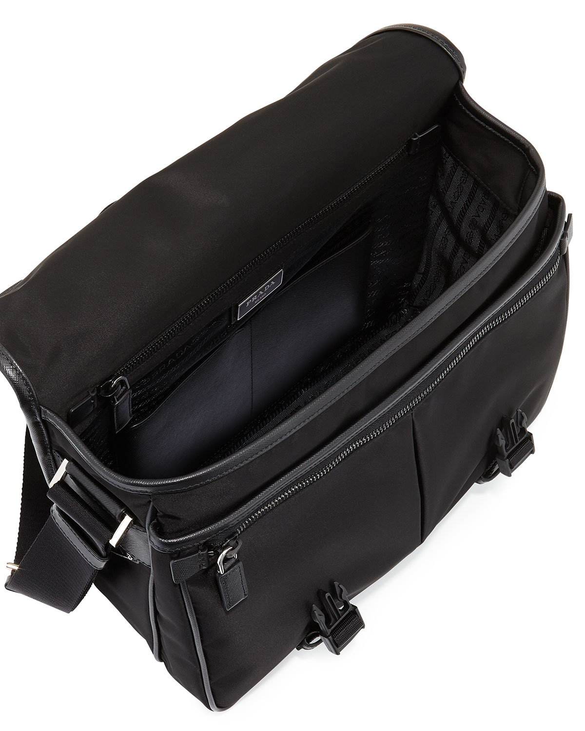 Prada Men's Large Nylon Messenger Bag in Black for Men | Lyst