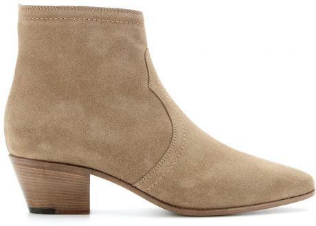 laurent rock suede ankle boots in beige lyst