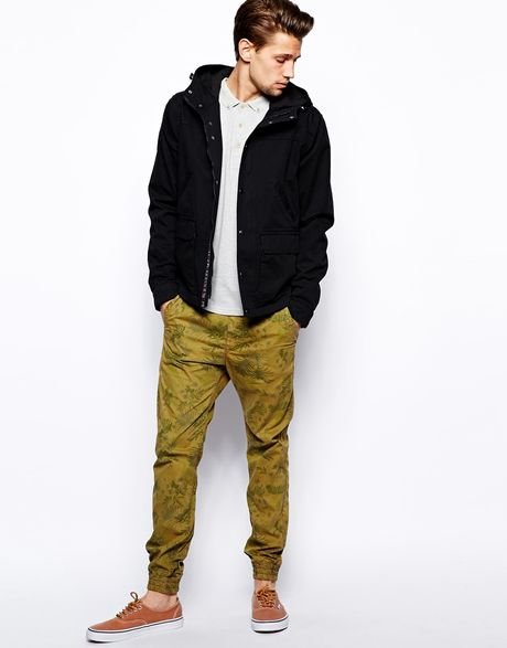 Unique Native Youth Chino Jogger In Green For Men Khaki  Lyst
