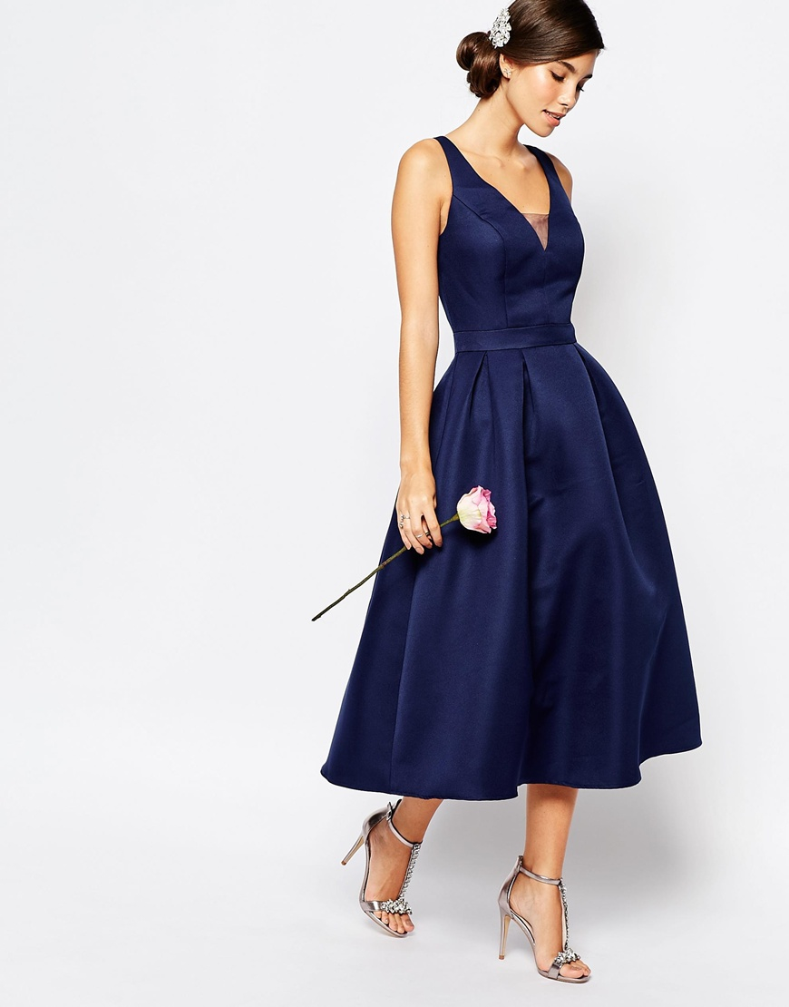 c2c8bbc943 Lyst - Chi Chi London Skater Midi Dress With Keyhole Back Detail in Blue