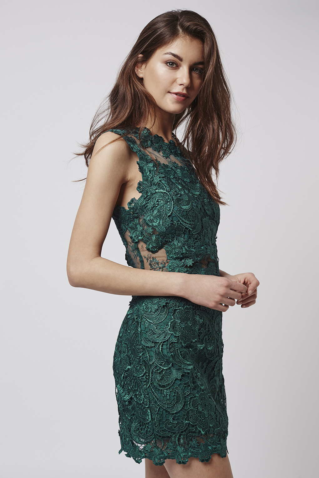 Topshop Premium Lace Bodycon Dress In Green Lyst