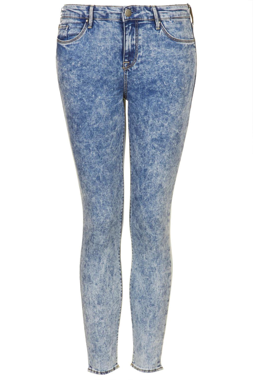 topshop petite moto acid leigh jeans in blue acid blue. Black Bedroom Furniture Sets. Home Design Ideas