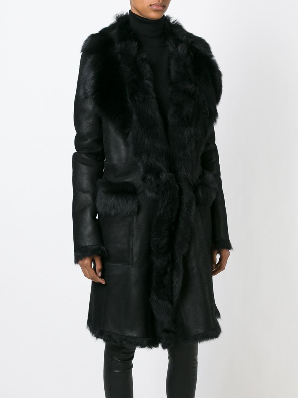 Belstaff Shearling Coat In Black Lyst