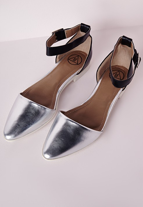 8be1d5e2d01 Lyst - Missguided Ankle Strap Pointed Flat Shoes Silver in Metallic
