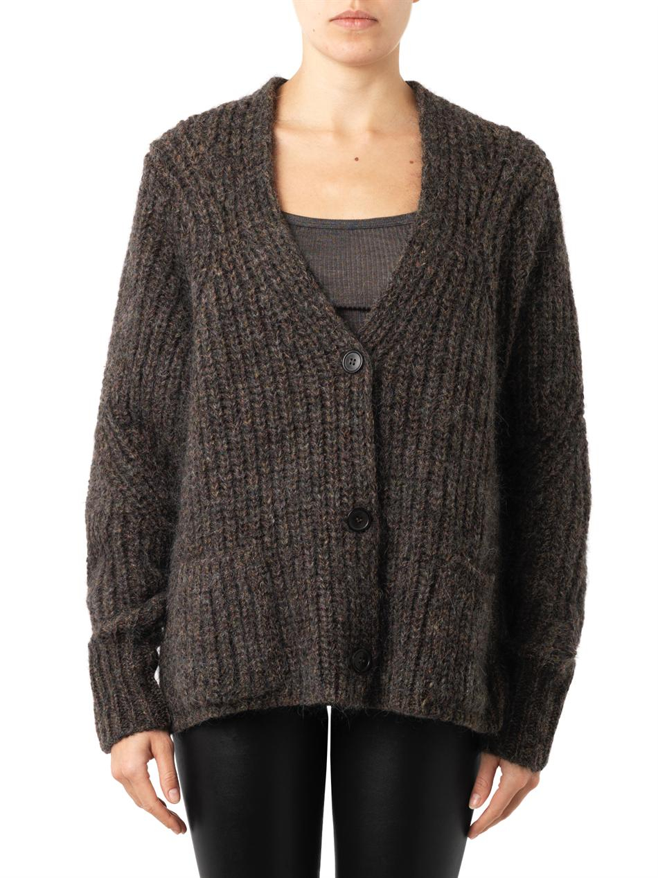 Isabel marant Franck Chunky-knit Cardigan in Brown | Lyst