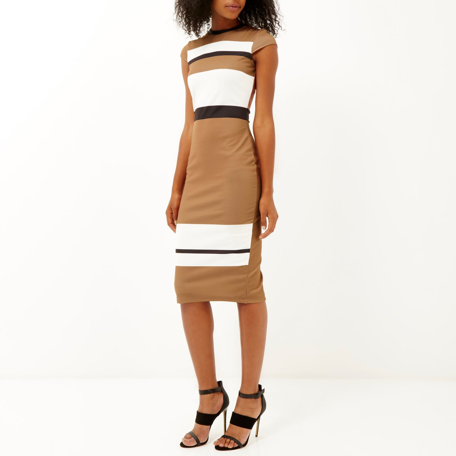 River island Camel Stripe Bodycon Midi Dress in Natural