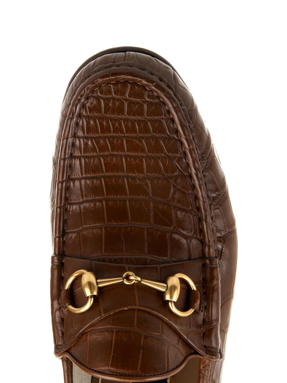 02ea6021050 Lyst - Gucci Crocodile Horsebit Loafers in Brown for Men