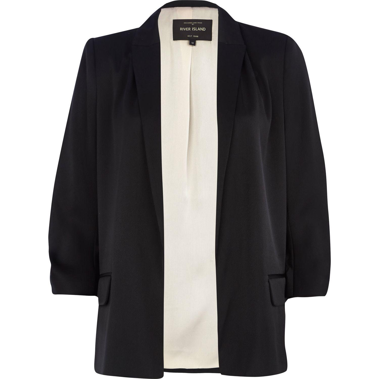 38d13ded7c274 River Island Black Ruched Sleeve Blazer in Black - Lyst