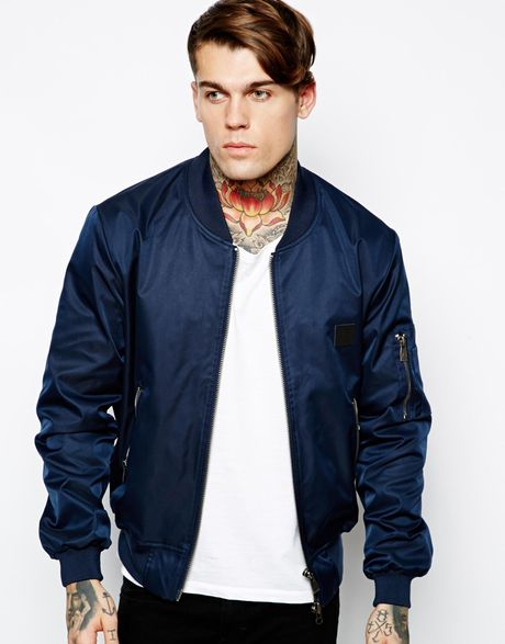 eleven paris bomber jacket in blue for men navy lyst