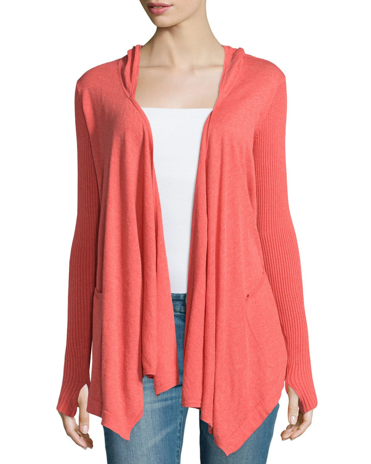 Minnie rose Cotton Hooded Open-front Duster Cardigan in Pink | Lyst