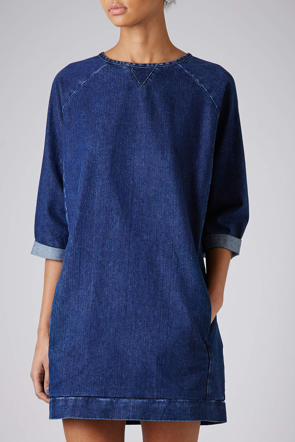 Lyst topshop moto denim jumper dress in blue for Womens denim shirts topshop