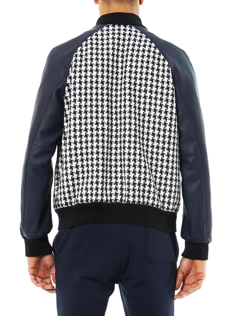 Lyst Balmain Houndstooth Teddy Jacket In White For Men