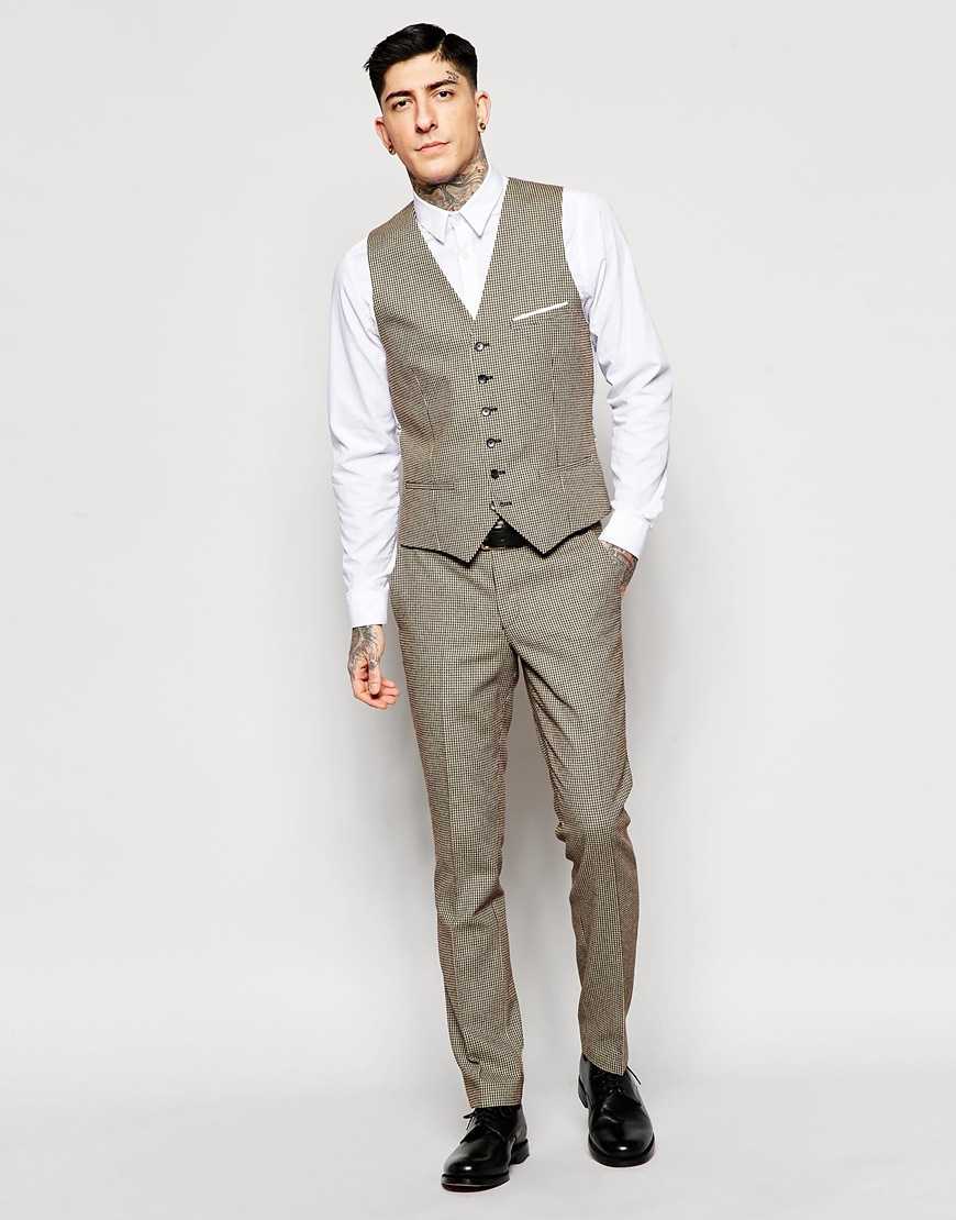 Heart & dagger Dogtooth Suit Trousers In Super Skinny Fit in Gray