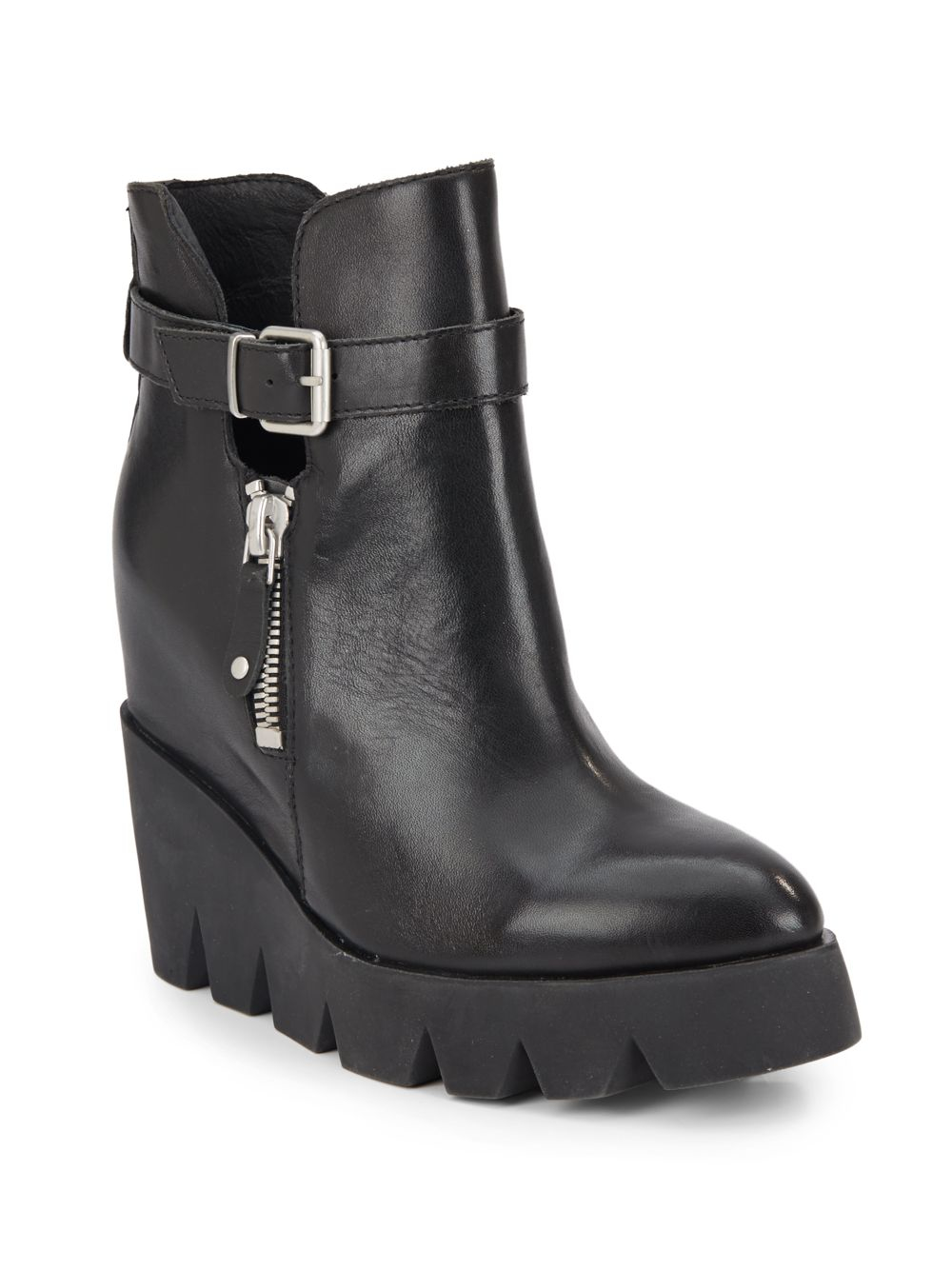 Ash Ricky Leather Wedge Ankle Boots in Black | Lyst