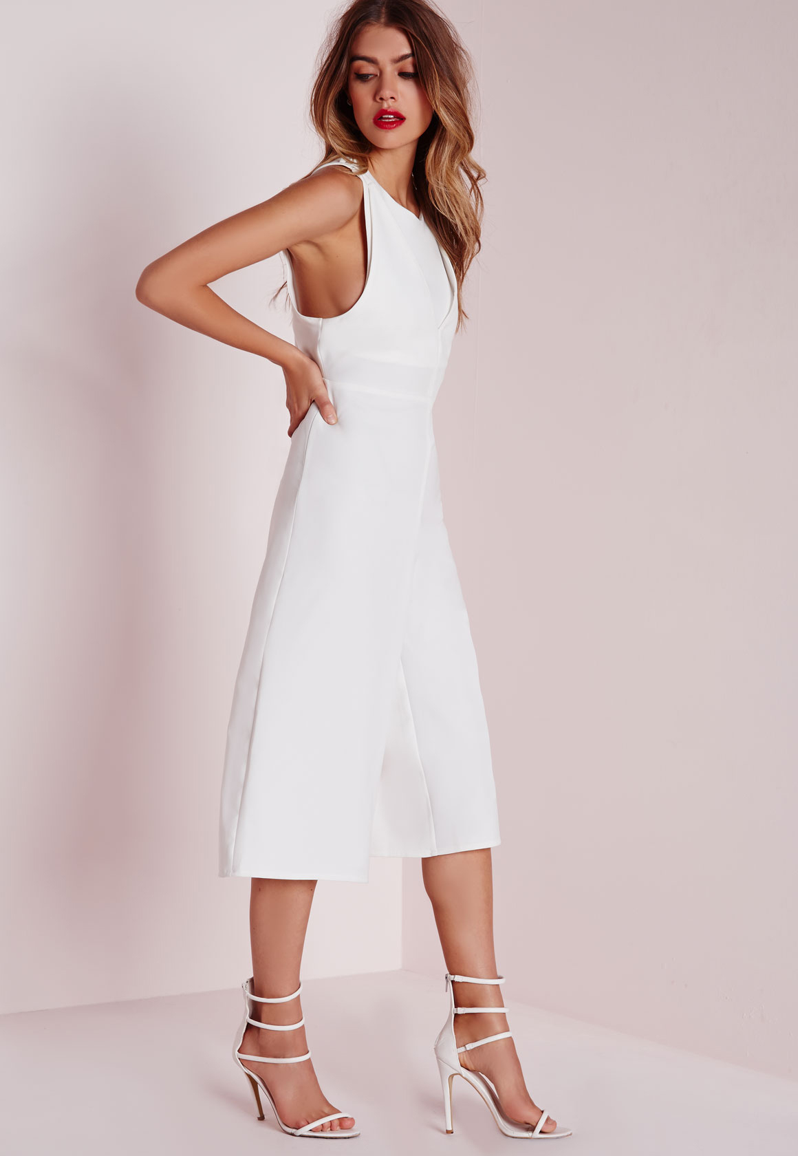 53e7cad47175 Lyst - Missguided Double Layer Cut Out Jumpsuit White in White