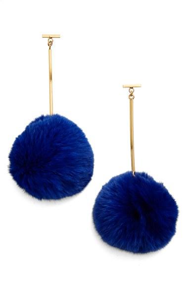 Tuleste pompom drop earrings - Blue v8xfd