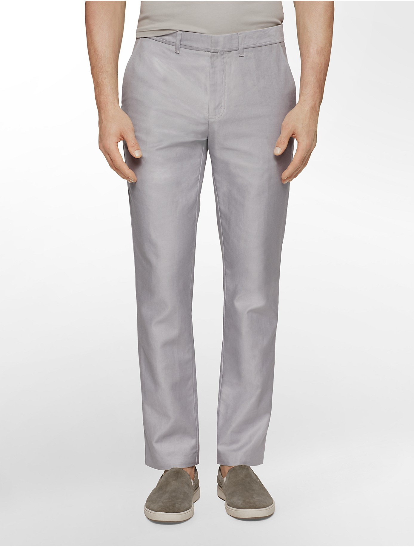 Calvin klein White Label Slim Fit Cotton Linen Pants in Gray for ...