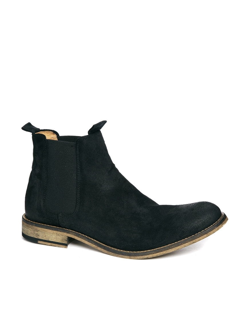 lyst selected homme melvin suede chelsea boots in black for men. Black Bedroom Furniture Sets. Home Design Ideas