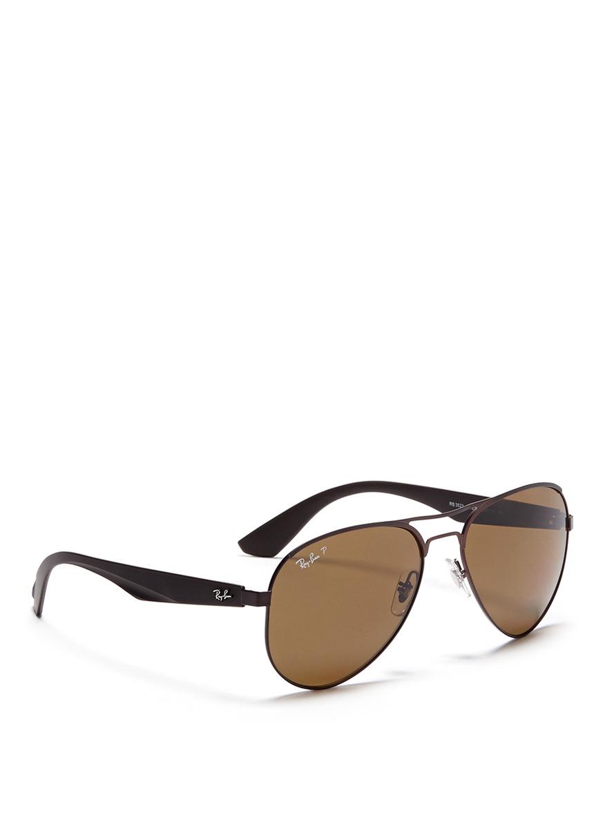 735bec2577683 Ray-Ban Titanium Frame Plastic Temple Aviator Sunglasses in Brown ...