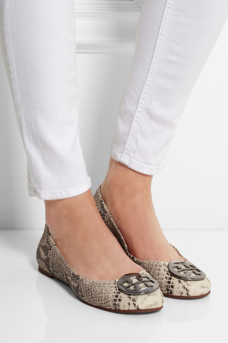 cdb174f76427 Lyst - Tory Burch Reva Snake-Effect Leather Ballet Flats in Natural