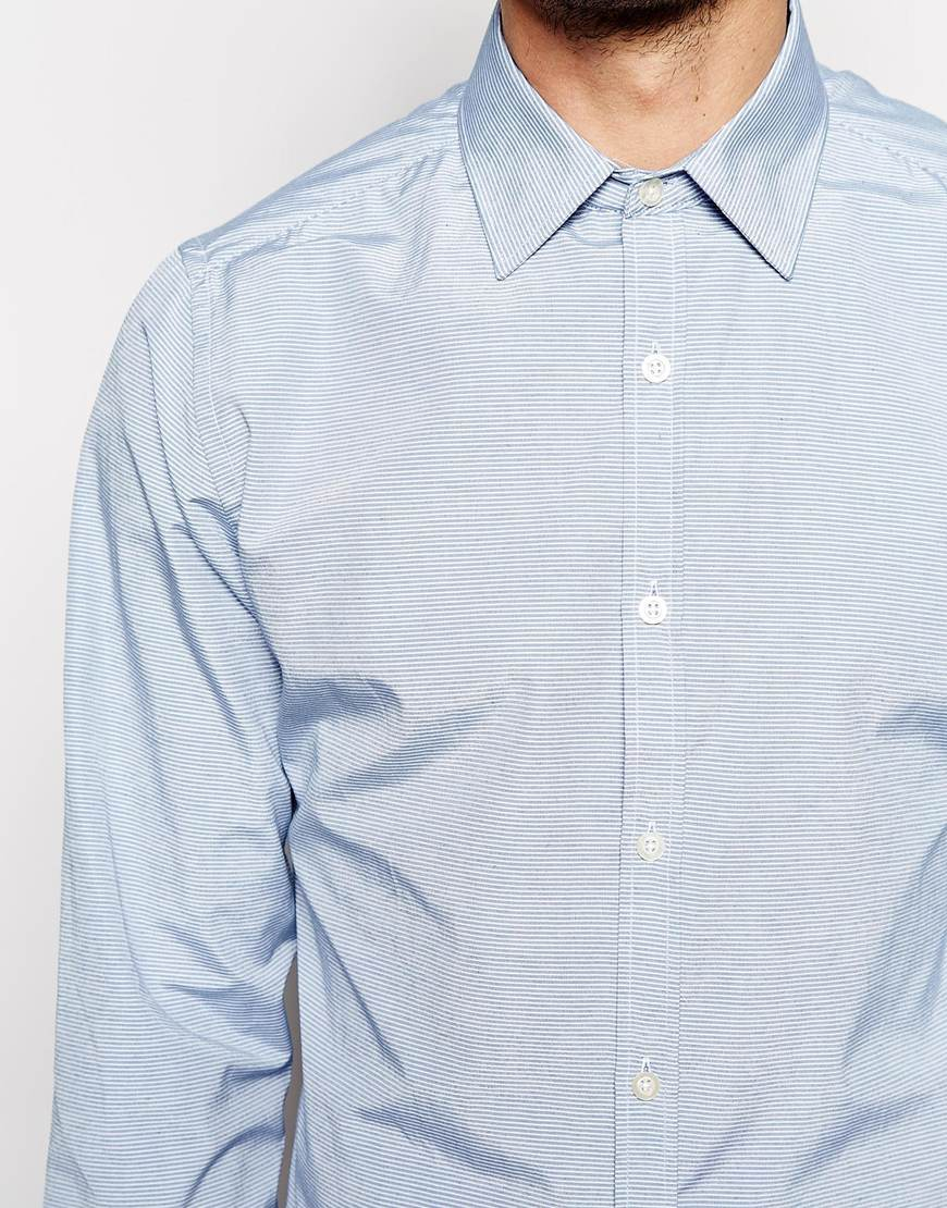 Lyst french connection shirt horizontal stripe in blue for Horizontal striped dress shirts men