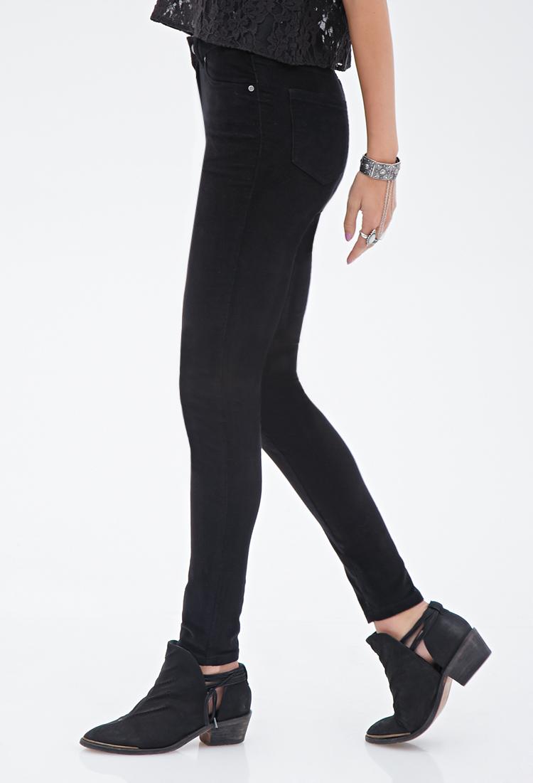 Forever 21 Skinny Corduroy Pants in Black   Lyst